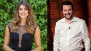 Matteo Salvini e la sua compagna Elisa Isoardi. Non è un caso che la bella giornalista della Tv lo trovi divertente (i due riescono a non farsi fotogrfare insieme)