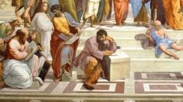 """La Scuola di Atene con Parmenide ed Eraclito. Affresco (770×500 cm circa) di Raffaello Sanzio, databile al 1509-1511 nella Stanza della Segnatura, una delle quattro """"Stanze Vaticane"""", all'interno dei Palazzi Apostolici"""