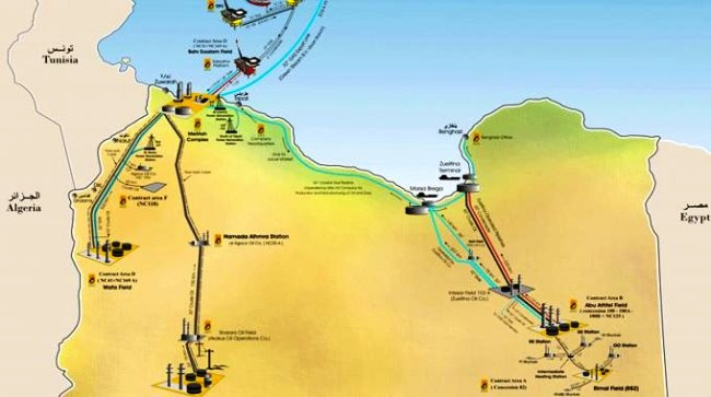 La presenza italiana in Libia in fatto di petrolio e gas metano (Eni). Vedi il dettagio a fine articolo.