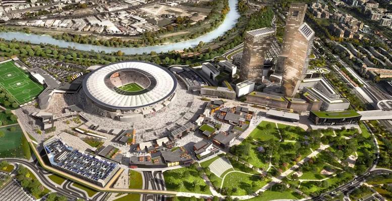 Un rendering di come verrebbe costruito lo stadio e valorizzata la zona, risanandola