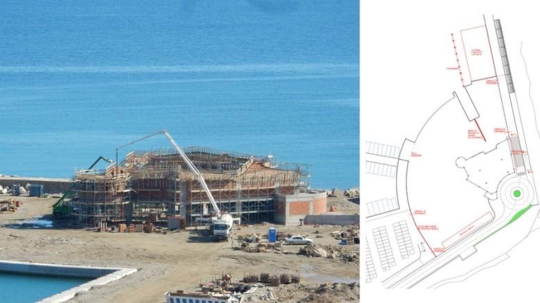 Avanzamento lavori a Marina di Capo d'Orlando - febbraio 2017 - La costruzione che ospiterà il rimessaggio