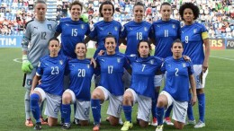 Una formazione (2016) della nazionale azzurra di calcio femminile