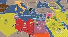 Un'immagine geografica sintetica del Mediterraneo politico.