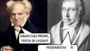 Schopenhauer (a sx)  intuiva le gravi conseguenze cui portava il pensiero idealista di Hegel. Questi, da opportunista, assecondava lo statalismo voluto dal re di Prussia. Visse fra gli onori  e le sue lezioni all'università di Berlino riempivano l'aula. Il contrario per Schopenhauer ed anche per Nietzsche, ribelli e insofferenti allo status quo: filosofi da rileggere, vissero poveri e morirono nello sconforto...