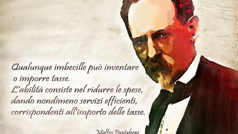Francobollo commemorativo di Maffeo Pantaleoni, assieme a Vilfredo Pareto e poi a Luigi Einaudi, pietra miliare dell'economia in Italia