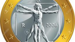 """L'immagine dell'uomo Vitruviano non salva l'Euro. La monetina del parcheggiatore abusivo vale due  belle banconote da 1000 lire ma soprattutto è tecnicamente una patacca. Lo """"strillano"""" invano i Nobel dell'economia da Krugman ad Amartya Sen..."""
