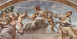 Le Virtù cardinali viste da Raffaello - qui prudenza, fortezza e temperanza - nella Stanza della Segnatura in Vaticano