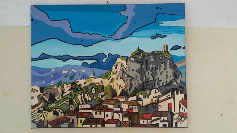 Il dipinto primo classificato al concorso d'arte figurativa Dipingiamo Vicari.