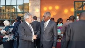 L'Angola costante presenza: qui l'ambasciatore in Italia Florencio-de-Almeida con il presidente Giovanni Tumbiolo