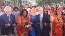 Da sx Sindaco Cristadi, Ministro Ghana NaaAfoley Qaye,  Soprano Felicia Bongiovanni, Presidente Giovanni Tumbiolo, dignitaria delegazione somala