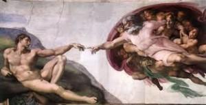 """L'affresco di Michelangelo nella Sistina, uno dei dipinti più famosi al mondo, in cui Dio certamente trasmette . per Michelangelo - all'umanità una """"consegna"""""""