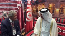 Da dx Ministro Qatar Mohamed Al Kwari e Giovanni Tumbiolo presidente Distretto pesca e Crescita blu Mazara del Vallo
