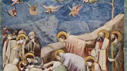 Giotto: Compianto. La religione cristiana guarda con equilibrio all'anima e al corpo. In una logica che è già ebraica, rafforzata dal miracolo di Dio che si è presentato con il corpo umano, soffrendo in esso. Tanta è la Sua volontà di sconfiggere il Male. Questo non è mai opera di Dio, che lo combatte nell'universo e chiede agli uomini di combatterlo ovunque possano, anche con il Suo aiuto. E' necessaria, però, la volontà dell'individuo, secondo il detto ripetuto: la tua fede ti ha salvato. La vittoria dell'umanità sul Male è ciò che Dio chiede in cambio del dono inestimabile della Vita.