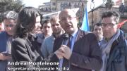 Il segretario regionale Sinalp Monteleone intervistato durante uno sciopero