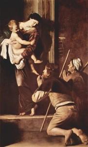 Caravaggio rivoluziona l'arte e la pittura con la sofferenza barocca del suo animo. In questa Madonna dei pellegrini, la nuova considerazione della realtà è contenuta nella presenza nel quadro dei due poveri in preghiera.