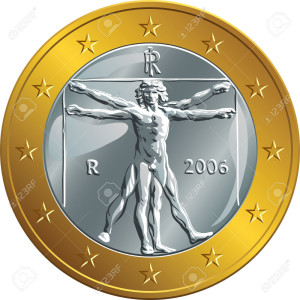 Italian money gold coin euro with the image of Vitruvian Man by Leonardo da Vinci