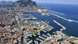 """Il grande porto di Palermo com'è (veduta aerea). E' un porto """"CORE"""", il massimo livello  nella classificazione dell'UE"""