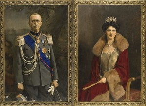 I ritratti ufficiali della coppia reale eseguiti dal pittore Carlo Siviero.