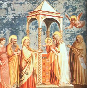 Giotto, Cappella degli Scrovegni: Presentazione al Tempio del bambin Gesù.
