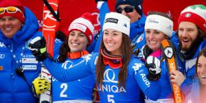 Una foto delle atlete italiane in partenza per la Corea.