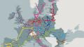 Ten-T corridor map: molto si capisce da questo vasto programma. L'importanza della Torino - Lione che appartiene alla Lisbona - Pechino e alla Milano Parigi, così come l'importanza del Ponte sullo Stretto. Laddove non si arriva per via di terra si prosegue per mare e viceversa: treno - nave - gommato. Questa è la intermodalità, basata sui container e i pallet.