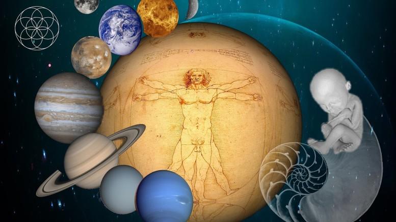 Un'immagine che simboleggia l'Universo di Leonardo Da Vinci. L'uomo e la terra hanno la posizione centrale della concezione biblica e tolemaica. L'attenzione all'anatomia parte del momento del concepimento in cui l'uomo, centro focale dell'Universo, viene in essere... La concezione è morale e filosofica: grande importanza è data al pensiero umano, massimo prodigio della realtà naturale. Tale concezione sopravvive alle novità scientifiche che, comunque, Leonardo non poteva conoscere.