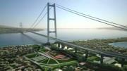 Un rendering simbolico di un progetto del Ponte sull Stretto. In realtà vi saranno piuù nimari e più corsie per auto...