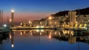Una panoramica notturna del Marina di Cala del Sole a Licata. E' stato realizzato in un lato in fatiscente abbandono dello storico porto.
