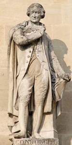 Una delle statue di Nicolas Condorcet, qui rappresentato in marmo al Louvre.