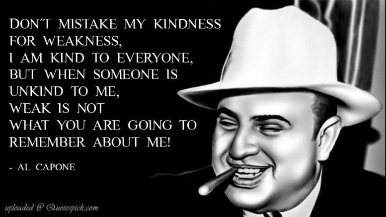 """Al Capone, emblema del capo mafia. Quest'immagine era già inadatta ai suoi tempi ed è terribilmente invecchiata. E' per questo che """"passano"""" tanti film in cui i mafiosi sembrano dei mattacchioni e si finisce spesso per """"tifare"""" per il Padrino M.Brando o ammirare Al Pacino quando dice il suo famoso """"a' facci du c."""" C'è un male peggiore rispetto a questa ...coreografia. E' quello meno visibile,  meno perseguito. Compare ogni tanto, è solo la cima d'un iceberg. Magari sotto l'ombrello di quel reato da operetta: partecipazione esterna... """"Non scambiate la mia educazione per debolezza"""" avverte Capone... La mente mafiosa non appartiene da molto a personaggi come Al Capone o Vito Corleone, il """"Padrino"""" per eccellenza, con cui Mario Puzzo ha delineato la iconografia della mafia comunemente intesa..."""