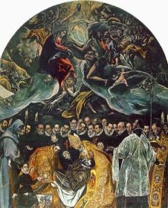 El Greco, La sepoltura del Conte de Orgaz. Su questo dipinto non basterebbe un volume. La fervente Spagna fu intransigente a partire dai Re Cattolici fino a Felipe II, mentre interpretò senza tentennamenti lo spirito della Controriforma: Dio c'è e va affermato. La molteplicità terrena, espressa dalla mentalità barocca, mantenuta oltre la sua durata storica, trova una soluzione solo nell'Unità che si trova in cielo. Sulla terra tante creature e situazioni, solo in cielo un unico Dio.
