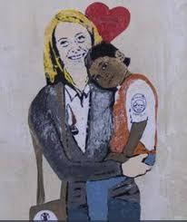 """Bonaria con """"la strana coppia"""" anche la Meloni. Oggi è ...la Berlusca dei poveri. L'ignoto autore del murale (lo stesso del bacio fatale) esprime il sentimento della Meloni: """"Nun so' cattiva! So' na madre! Anzi: sinite nigroes parvulos veniant ad me!"""""""
