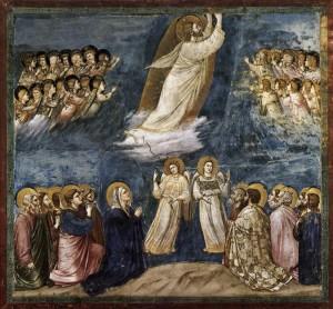 """L'Ascensione di Cristo in Giotto. L'eccelsa arte del """"pastorello"""", che non poteva conoscere la prospettiva, si incrocia con una fede che echeggia quella di San Francesco di cui lui ebbe notizia. Il risultato artistico è tale che anche l'errore nella costruzione complessiva dell'immagine sembra ...voluto."""