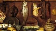 """Jacopo Chimenti """"Interno di dispensa"""": la genuinità dei vecchi cibi e le """"conserve"""" nate dall'ingegno in assenza della refrigerazione. Alcune di queste, derivanti dalla salatura e dall'affumicatura, rimangono fra le specialità più prelibate e richieste..."""