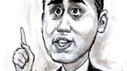Di Maio nella caricatura di Marina Molino: Giggetto, nella fantasia dell'artista, col ditino alzato come per chiedere la parola alla maestra...