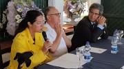 Da sinistra Stefania Petyx Ammiraglio Comandante Salvatore Gravante e Agostino Randazzo al tavola della conferenza di presentazione al Circolo della Vela Sicilia a Mondello.