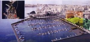 Porto Xifonio: rendering con scorcio città di Augusta.