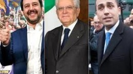 Salvini ancora senza cravatta (neppure quella slacciata tipo cronista), Di Maio, da buon napoletano più che stilé (neppure una cravatta con un minimo di fantasia) e Sergio il buon padre (the godfather?) che sembra dire: ecco i miei gioielli.
