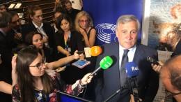 Antonio Tajani (Forza Italia) presidente del Parlamento europeo fra i microfoni. Si è parlato di diritto d'autore, ma finalmente anche di cultura, all'Unione europea.