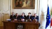 Una foto del gruppo Ars di Forza Italia ieri in sala stampa all'Ars . Armao si è aggiunto al tavolo poco dopo.