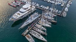 Una parte della flotta partecipante agli ormeggi di Marina Villa Igiea