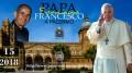 La cartolina della manifestazione: il papa affiancato a Padre Puglisi.