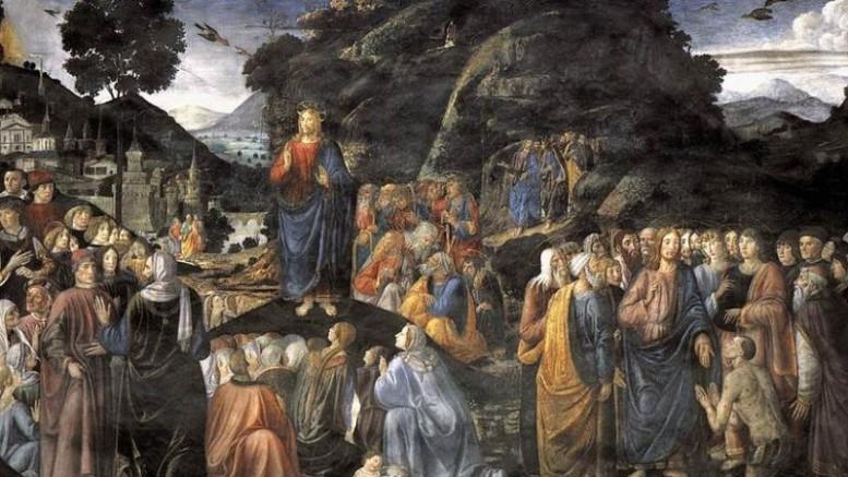 Il discorso della Montagna (di Cosimo Rosselli) nella Cappella Sistina. E' uno degli innumerevoli  dipinti che ritraggono Gesù. L'impegno dell'arte figurativa, tipico della religione cattolica, ne  rispecchia il grande contenuto di devozione attraverso i secoli. La rappresentazione dell'immagine e del corpo, caratteristica del Cattolicesimo,  rappresenta nell'arte anche uno sforzo di conoscenza e approfondimento. Il corpo, come nell'ebraismo, riveste una grande importanza,un vero ruolo nella religione.