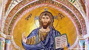 """Il Cristo Pantocratore (che sostiene il mondo) di Cefalù, simbolo dell'Anno Santo, resta una delle più belle e dolci immagini di Gesù. E' opera di mosaicisti bizantini chiamati da Ruggero II. L'immagine di Gesù serve a concentrasi nella preghiera:cristiano è chi segue il Suo messaggio. Gesù ha trasformato la croce -un patibolo - nel simbolo della pace e della bontà: è il simbolo più diffuso del mondo ed è considerato il più e """"affidabile"""" del mondo. E' seguito a molta distanza dall'ancora."""