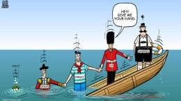 Il vignettista - qualche tempo fa - vedeva l'Inghilterra più sicura  (prima della brexit) e la Germania la sola all'asciutto. La Francia, mezza affondata, è ora sott'acqua...