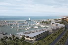 Il porto di Gela come lo si vorrebbe. Eccolo qui in rendering inquadrato nei luoghi. Il progetto andrà ora in gara per la realizzazione.