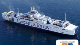 Il nuovo grande traghetto Elio, nave ammiraglia della Caronte -Tourist procede a gas  LNG (Gas naturale liquefatto).