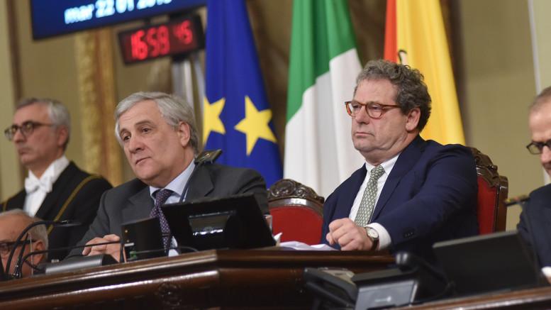 Tajani all'Assemblea. Seduta solenne con Micciché: tutti presenti assieme al governatore Musumeci. (Le foto sono di Angelo Modesto).