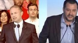 """Joseph Muscat  e Matteo Salvini simbolicamente vicini: """"No alle pressioni dell'UE"""""""