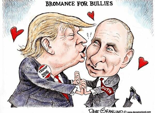 """Trump  e Putin ritratti dal vignettista Dane Granlund nella loro volontà di pacificazione: due grandi uomini che potrebbero risolvere il problema della pace nel mondo. Un sogno  accarezzato ancor prima della """"grande guerra"""" mondiale anche Hiroito, imperatore del Giappone."""